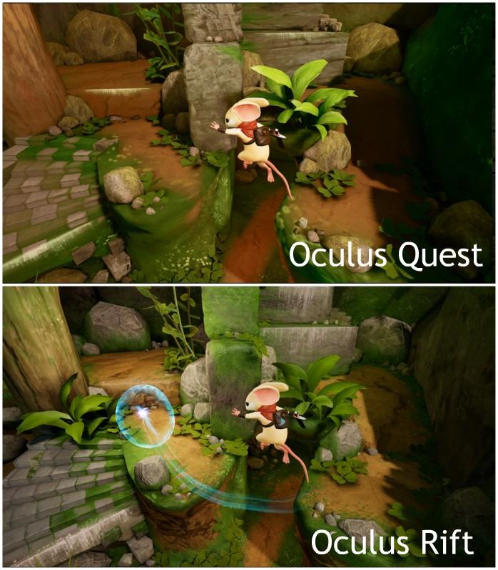 Porovnání grafiky Oculus Quest a Oculus Rift na populární hře Moss.