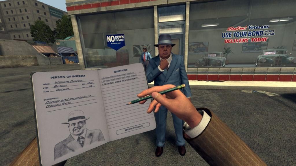 Vyšetřování v L.A. Noire: The VR Case Files